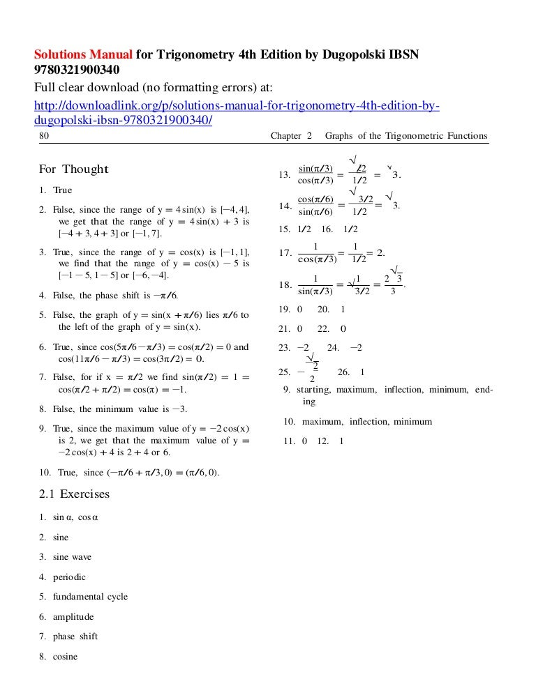 trigonometry 10th edition solutions manual
