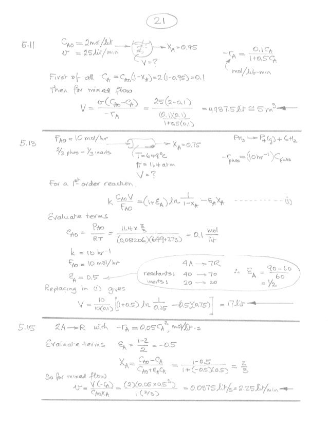 chemical reaction engineering 3rd edition solution manual