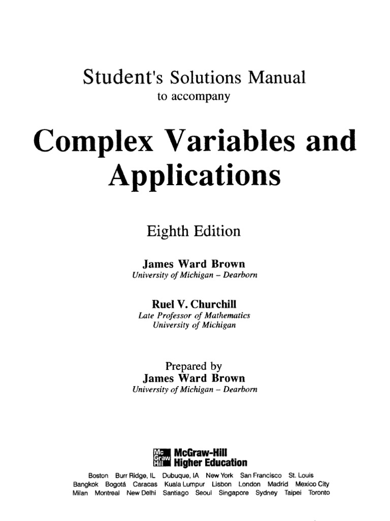 complex variables and applications 8th edition solution manual free download